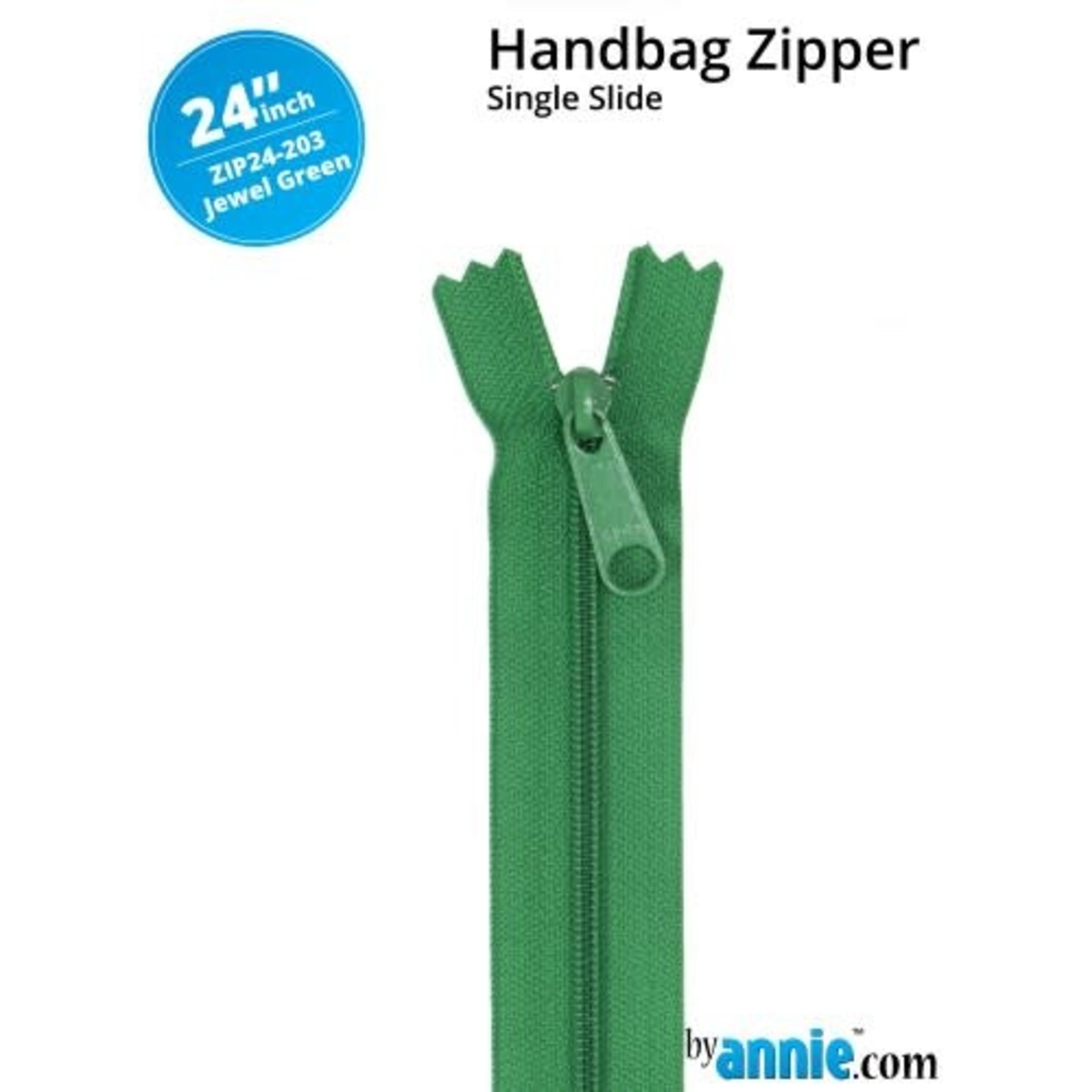 BY ANNIE Single Slide Handbag Zipper 24'' Green