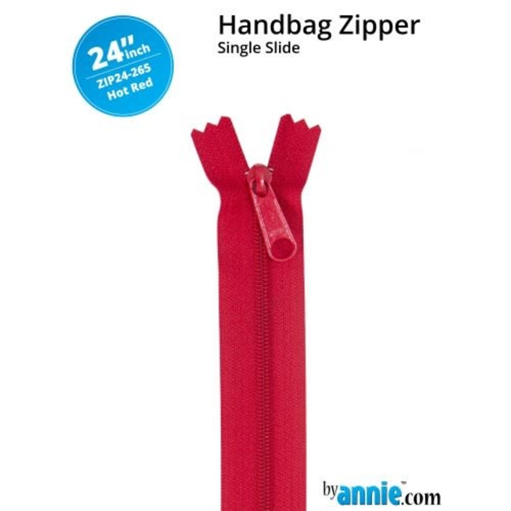 By Annie Single Slide Handbag Zipper 24'' Red/Pink