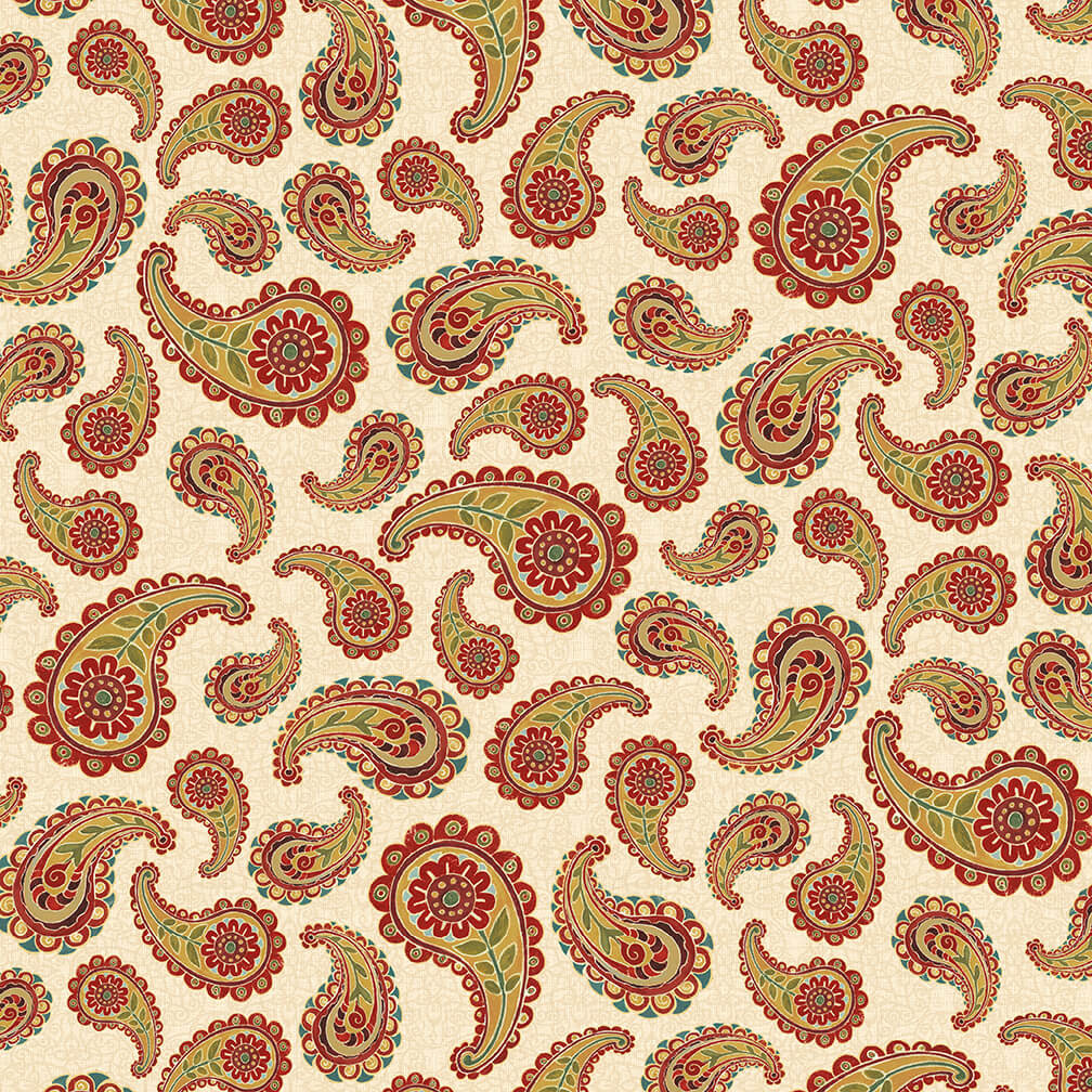 Blank Quilting Corp 500cm AVIGNON Paisley (414 on Ivory) PER CM OR $21/M