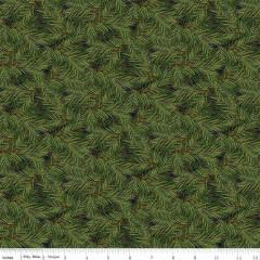 RILEY BLAKE DESIGNS 75cm CHRISTMAS MEMORIES, DARK GREEN $0.20 PER CM OR $20M