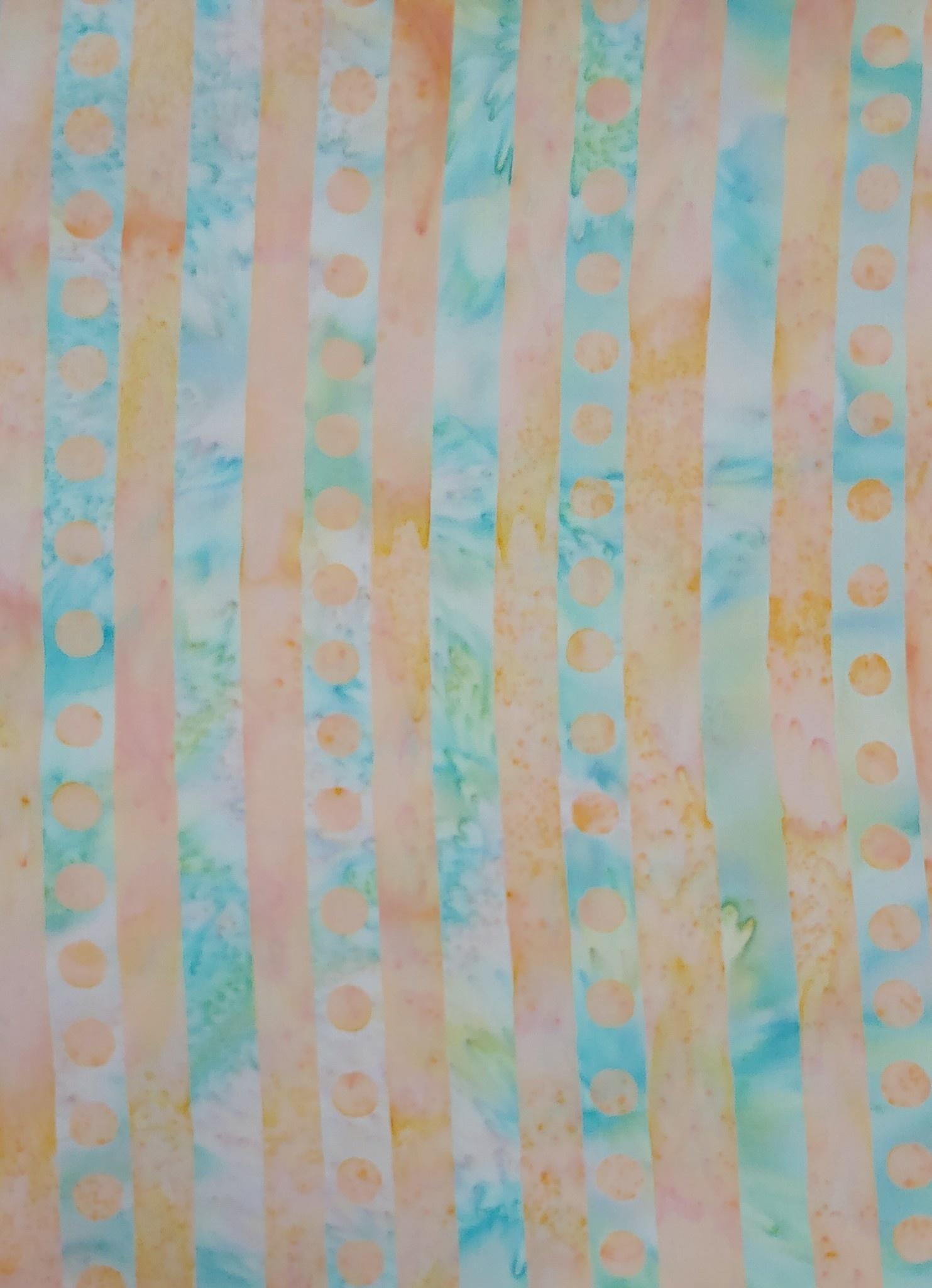 500cm Peach and Blue/Green Stripe $16/M BATIK