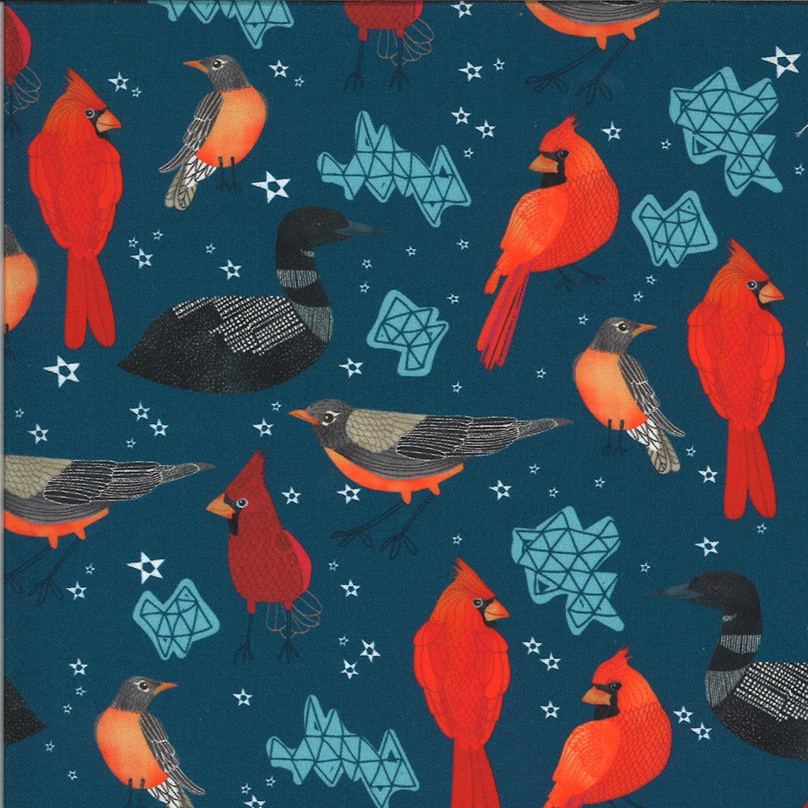 Moda Lakeside Story, Birds, Sailcloth Navy (513351-12) $0.20 per cm or $20/m