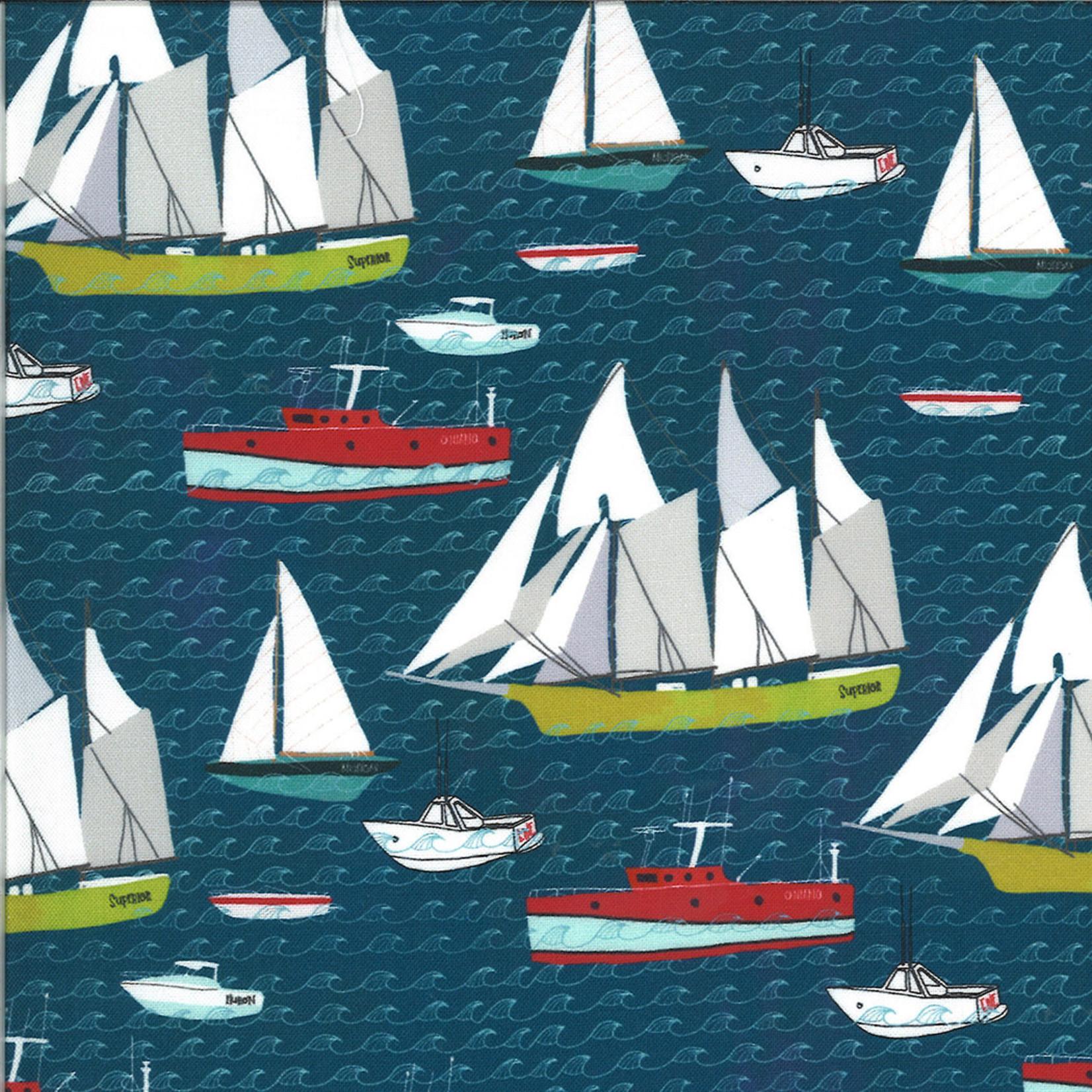Moda Lakeside Story, Boats, Sailcloth Navy (513352-12) $0.20 per cm or $20/m