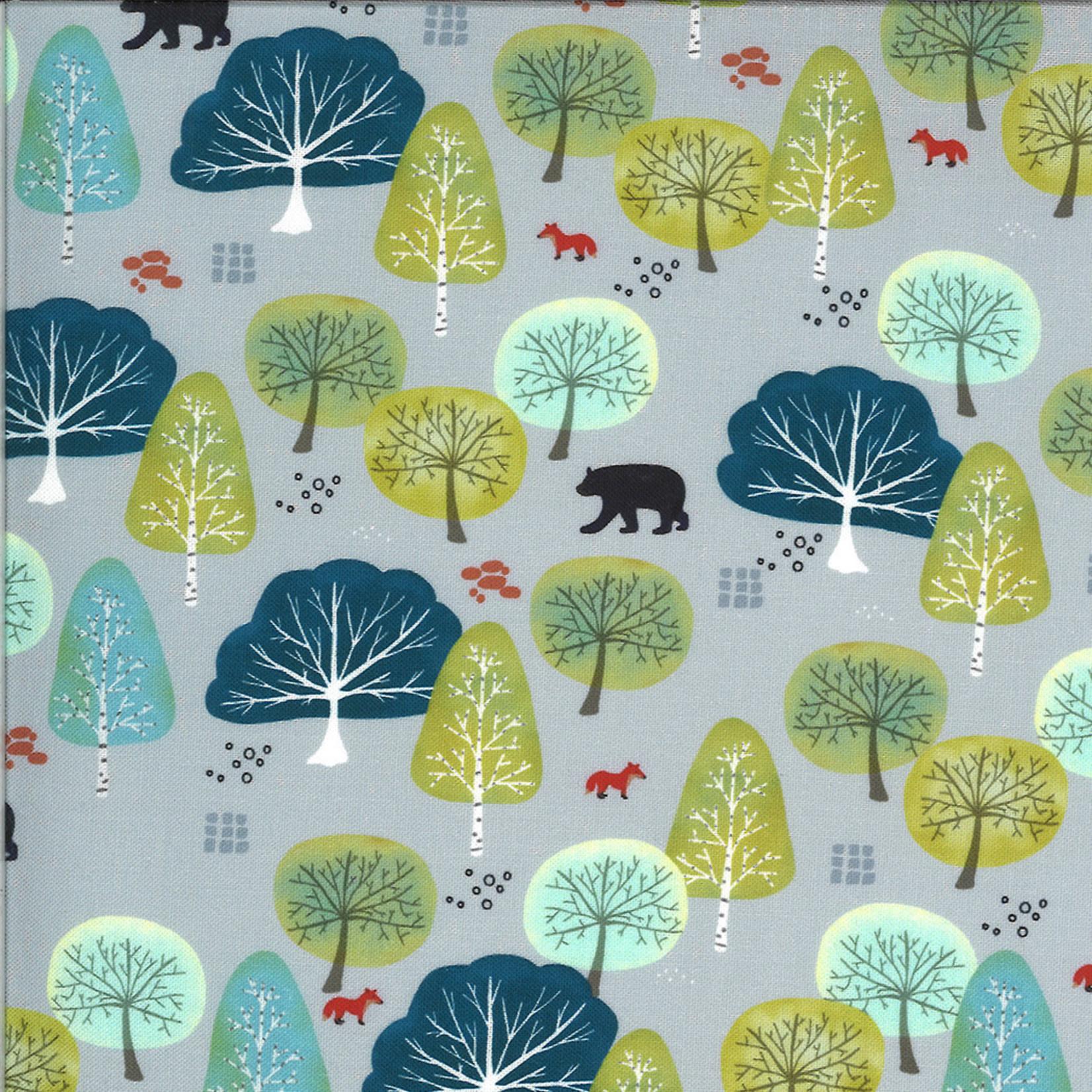 Moda Lakeside Story, Trees, Grey (513353-15) $0.20 per cm or $20/m