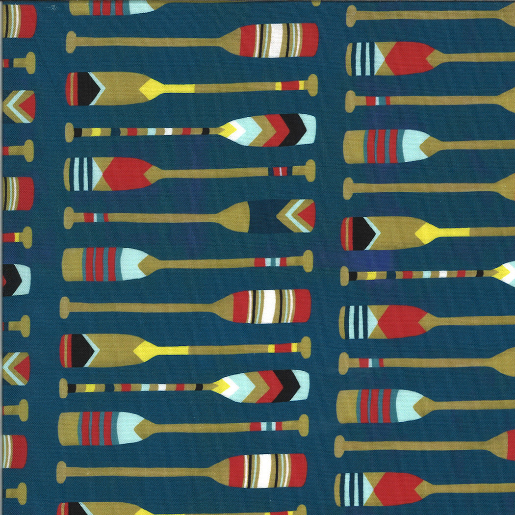 MODA Lakeside Story, Paddles, Sailcloth Navy (513354-12) $0.20 per cm or $20/m