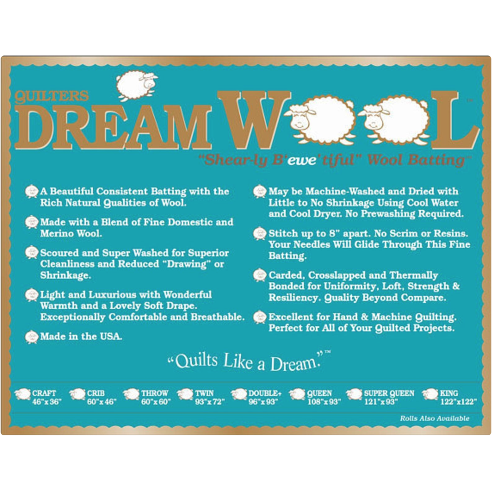 Dream Cotton DREAM WOOL SUPER QUEEN BATTING