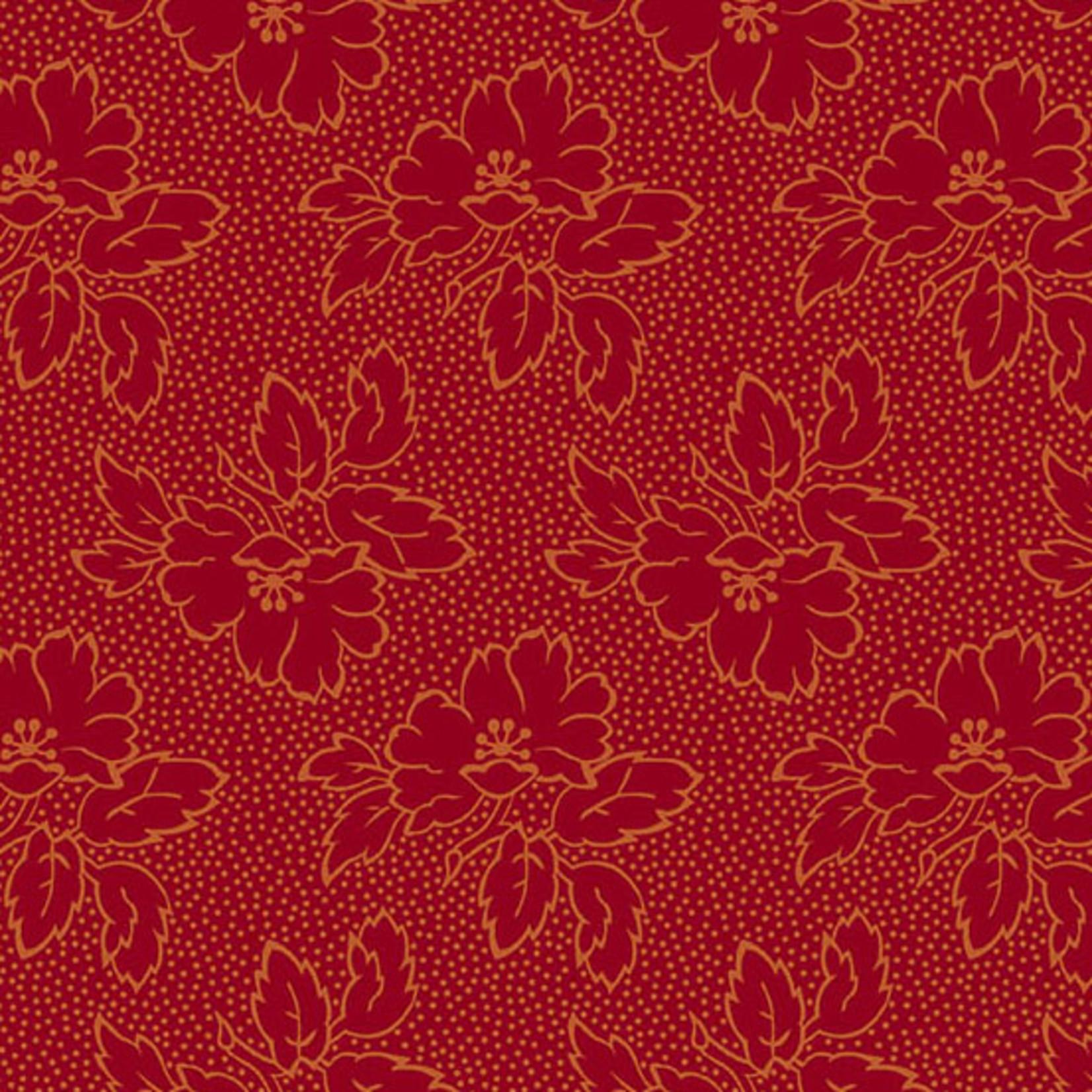 Edyta Sitar Secret Stash - Warms, Silhouette Floral, Red (8752-R) $0.20 per cm or $20/m