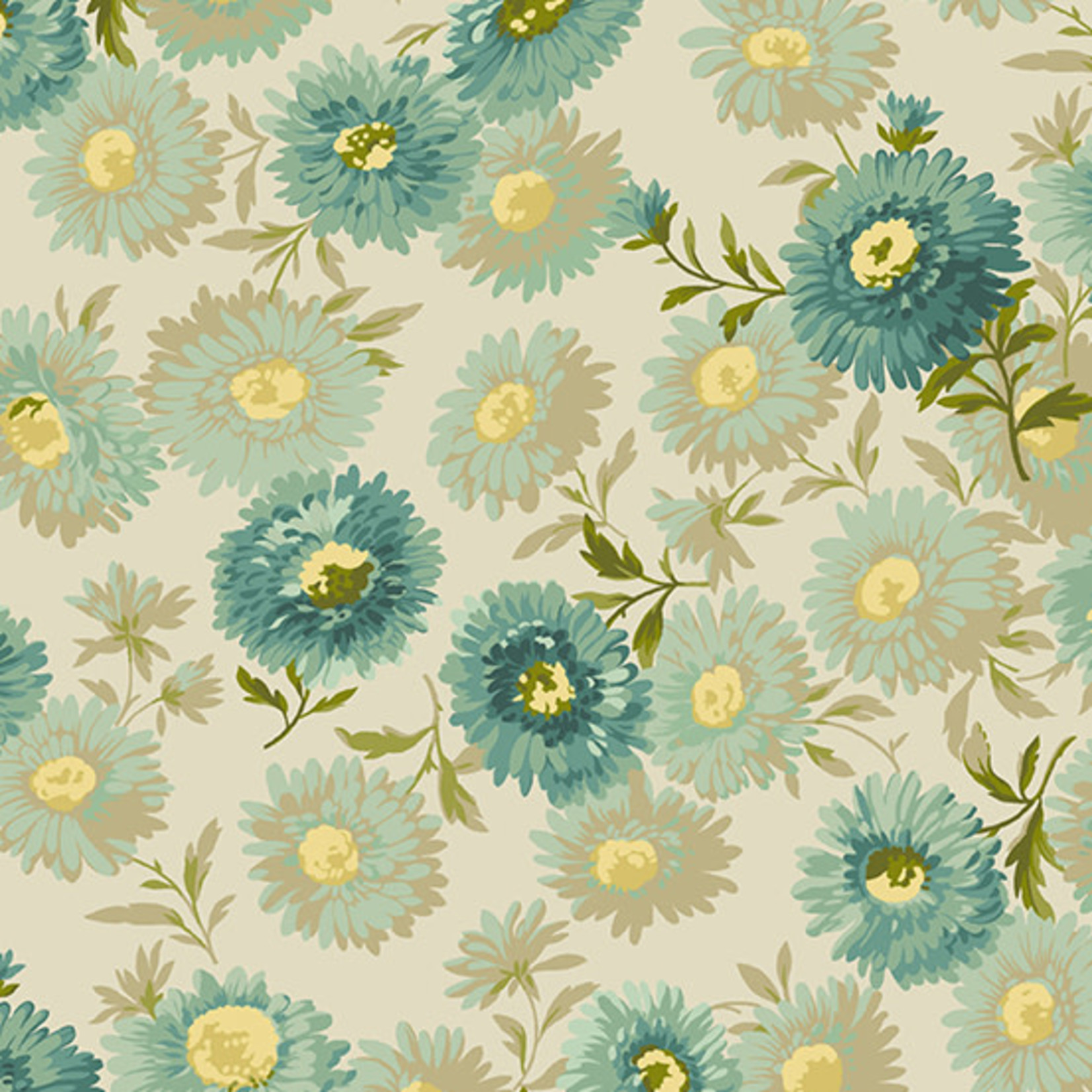 Edyta Sitar Secret Stash - Neutrals, Daisies, Teal (8751-T) $0.20 per cm or $20/m