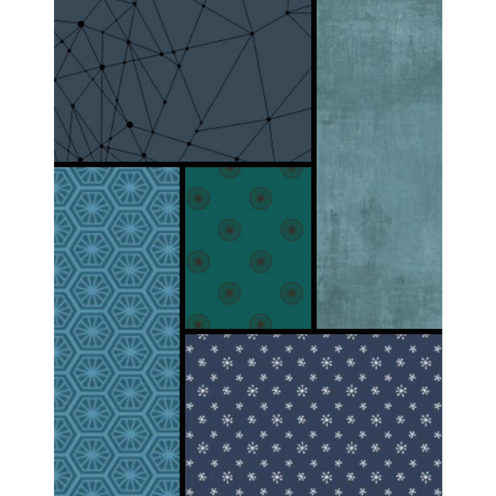 Wilmington Prints Rough Waters Curated Fat 1/4 Bundle - 5 Pcs