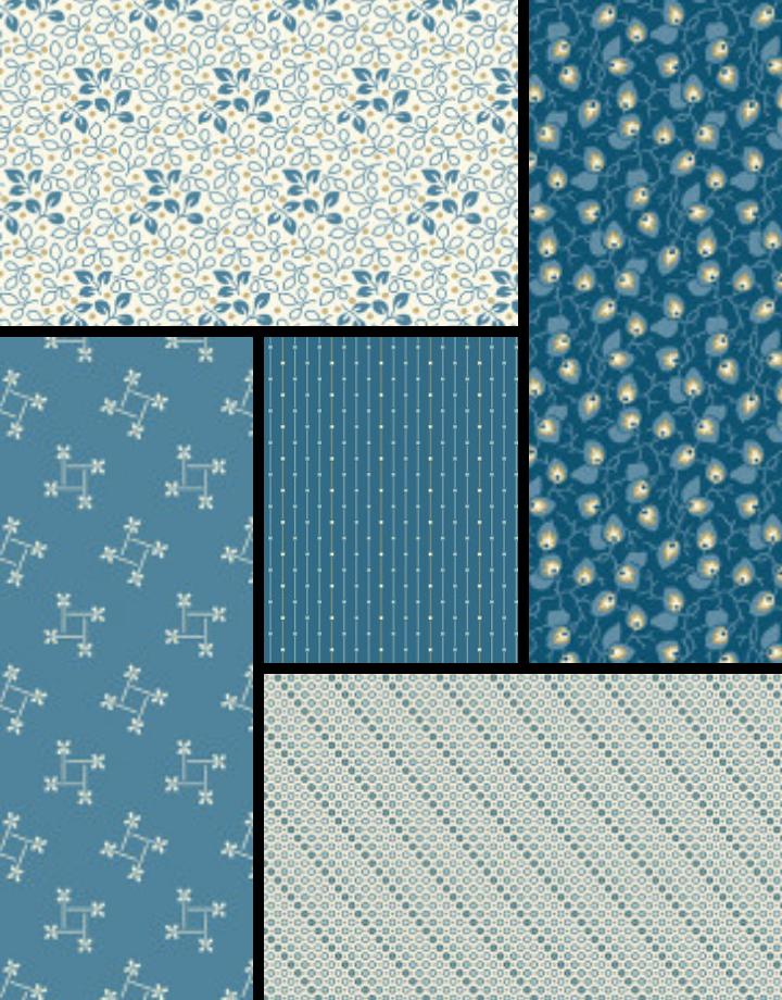 LAUNDRY BASKET QUILTS Andover Laundry Basket Quilts - Blues - Fat 1/4 Bundle - 5 Pcs