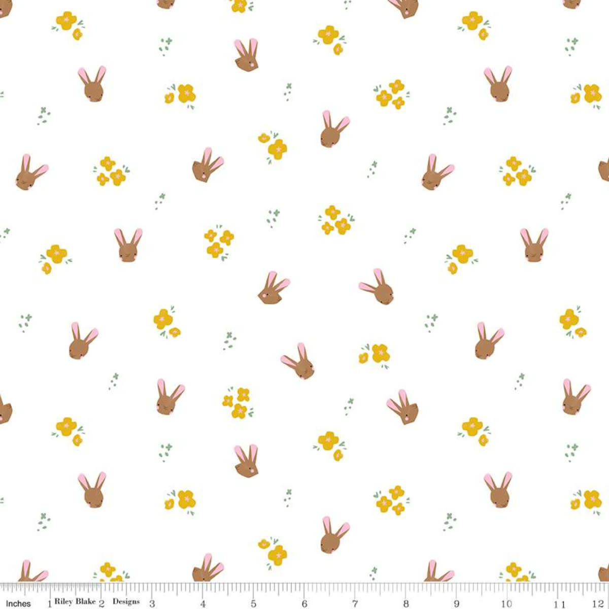 RILEY BLAKE DESIGNS Easter Egg Hunt, Bunnies, White $0.20 per cm or $20/m