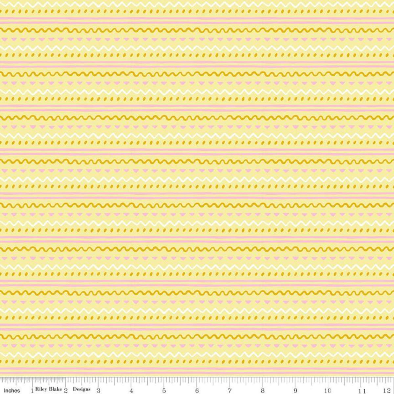 RILEY BLAKE DESIGNS Easter Egg Hunt, Geo Stripe, Yellow $0.20 per cm or $20/m