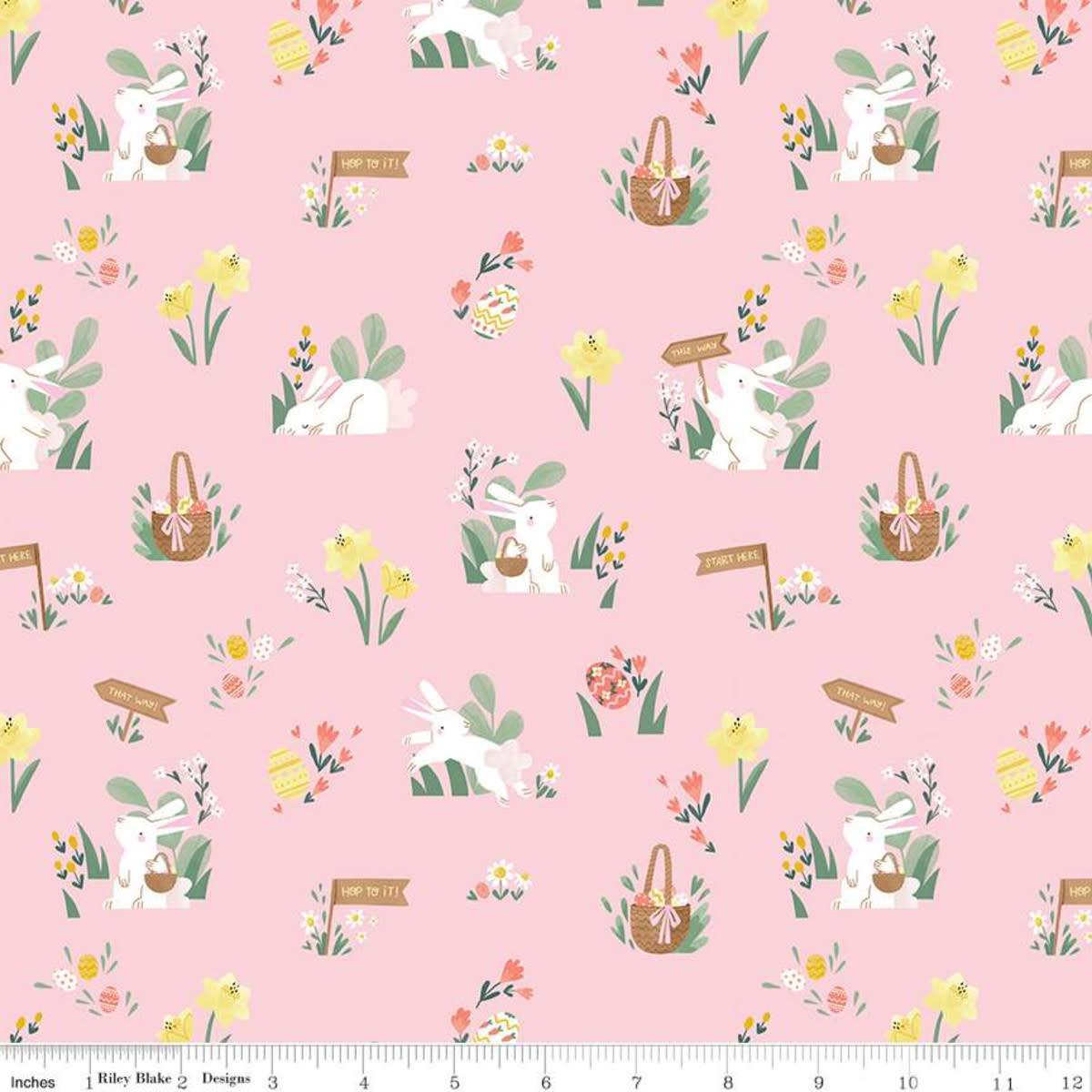 RILEY BLAKE DESIGNS Easter Egg Hunt, Bunnies & Baskets Main, Powder $0.20 per cm or $20/m
