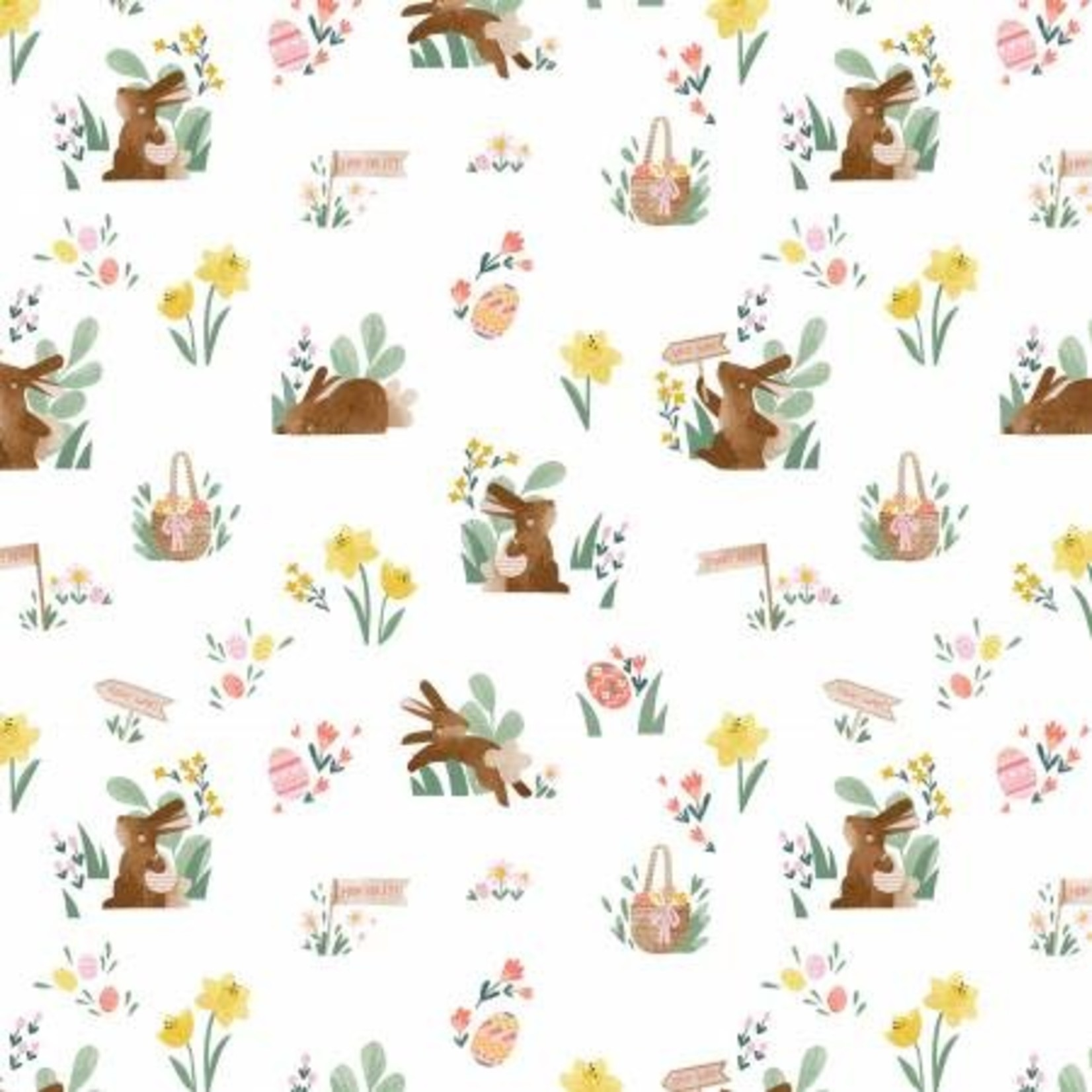 Riley Blake Designs Easter Egg Hunt, Bunnies & Baskets Main, White  $0.20 per cm or $20/m
