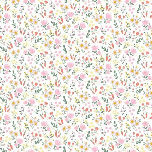 RILEY BLAKE DESIGNS Easter Egg Hunt, Floral, White $0.20 per cm or $20/m