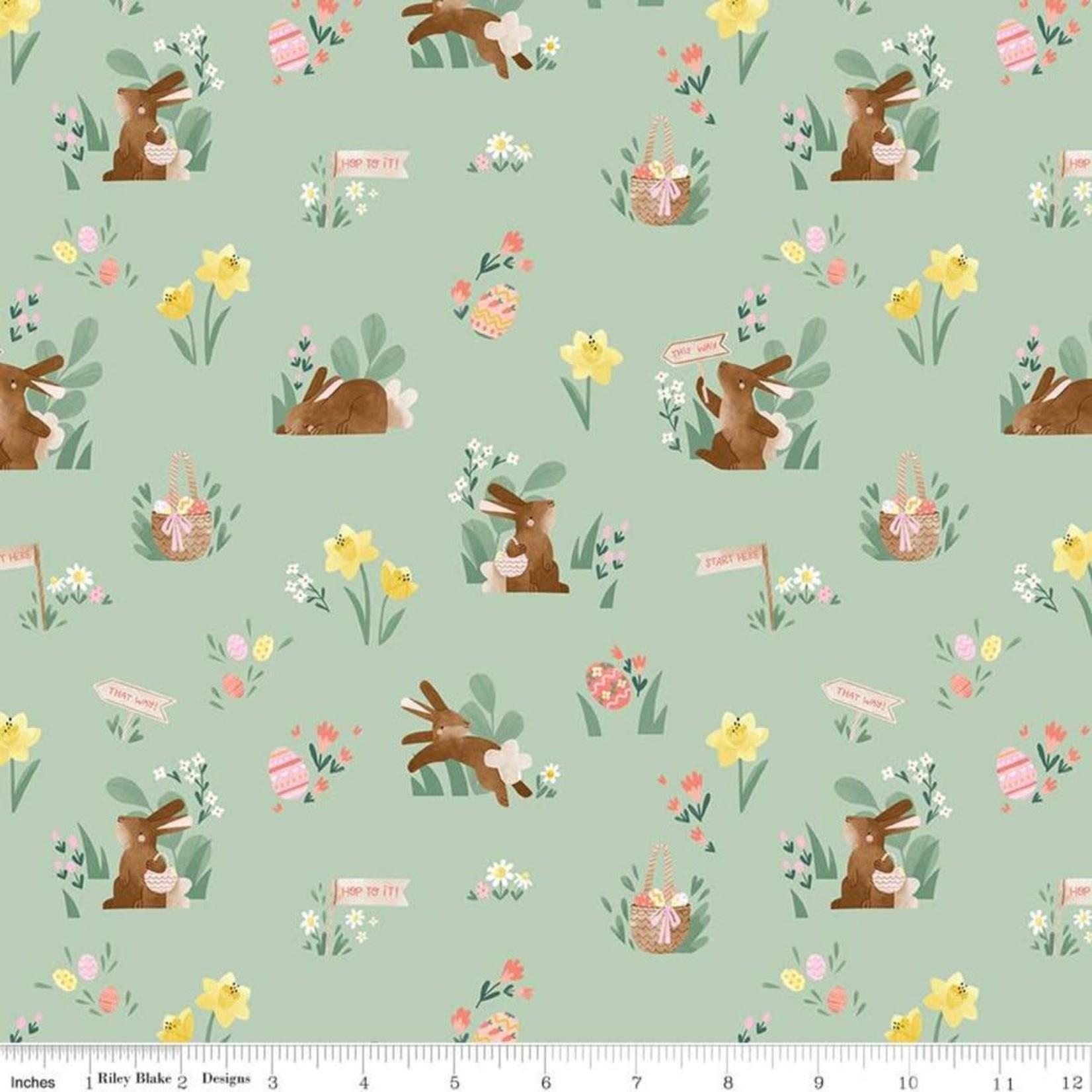 RILEY BLAKE DESIGNS Easter Egg Hunt, Bunnies & Baskets Main, Mint $0.20 per cm or $20/m