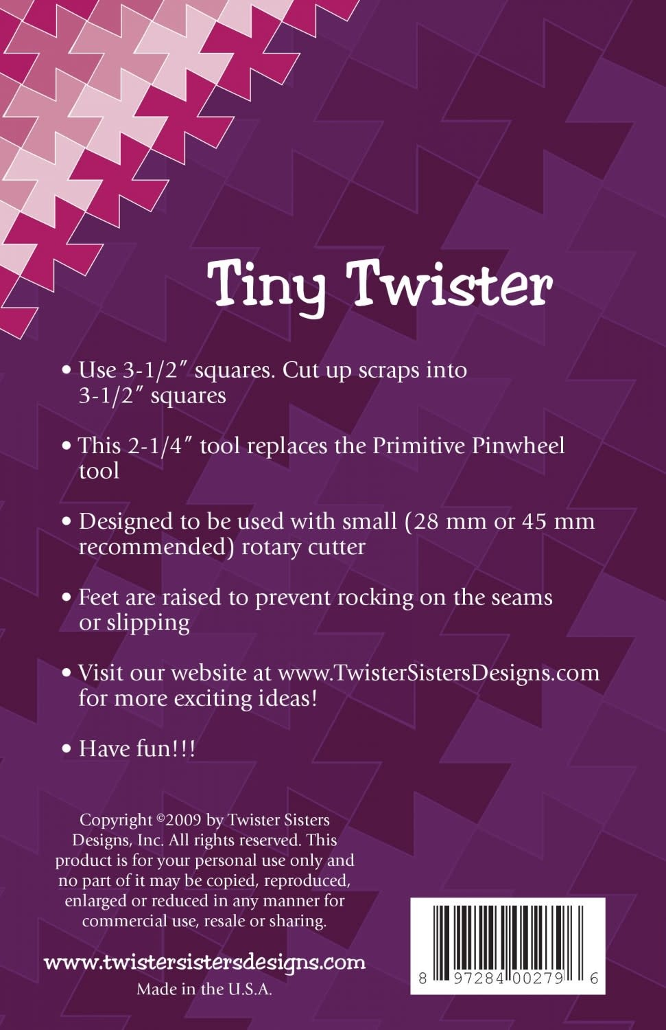 TWISTER SISTERS Tiny Twister Pinwheel Ruler