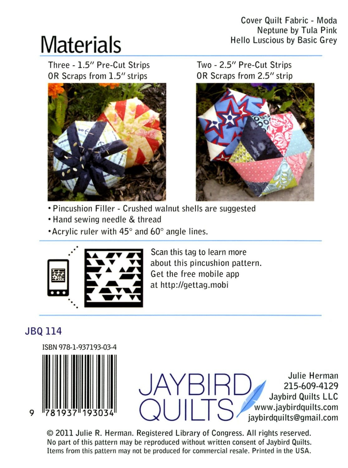 LITTLE JAYBIRD QUILTS Biscuit Giant Pincushion