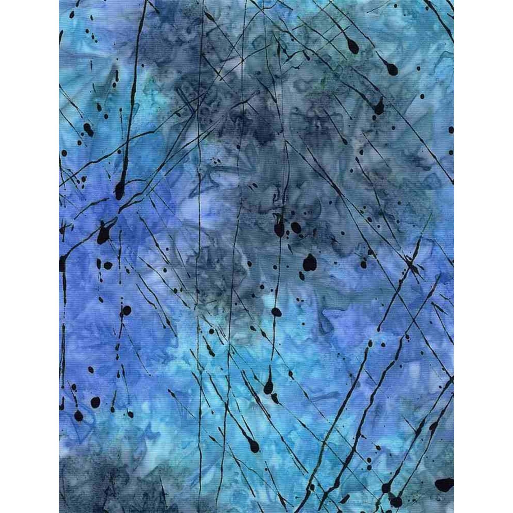 Timeless Treasures Tonga, Impact Splattered Thin Paint, Ocean $0.18 per cm or $18/m