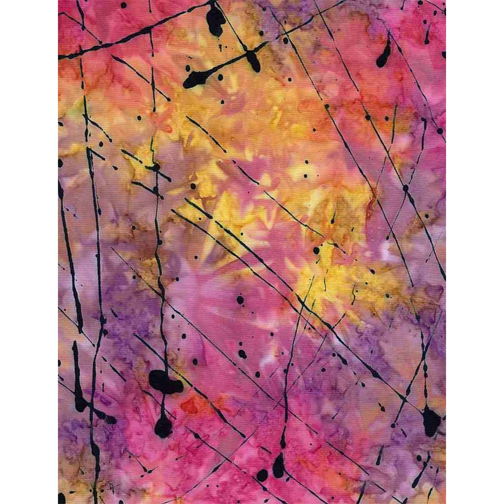 Timeless Treasures Tonga, Impact Splattered Thin Paint, Sunset $0.18 per cm or $18/m