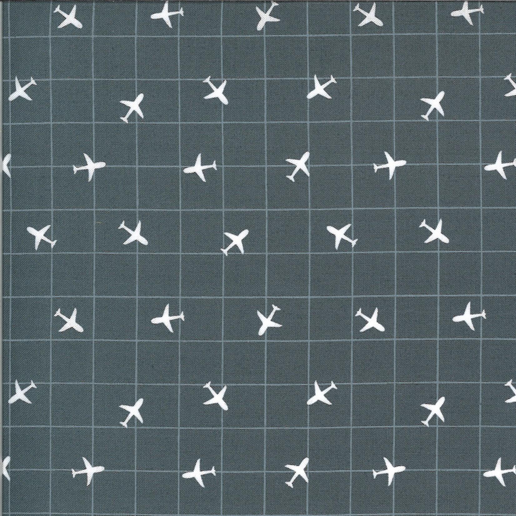 On The Go, Airplane Grid, Asphalt Dark Grey (20726 18) $0.20 per cm or $20/m