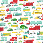 Moda On The Go, Cars and Trucks, Cloud White (20721 11) $0.20 per cm or $20/m