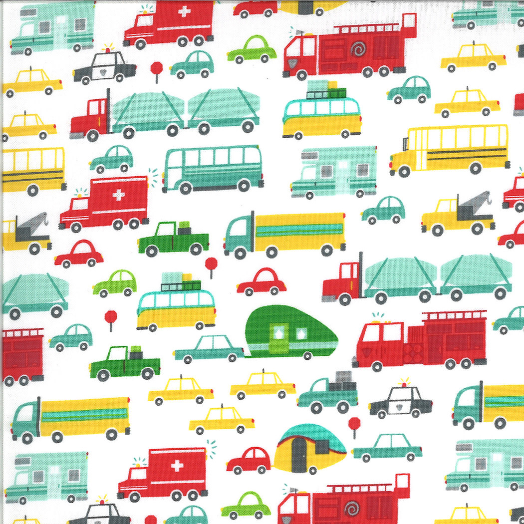 MODA On The Go, Cars and Trucks, Cloud White (20721 11) $0.20 per cm or $20/m