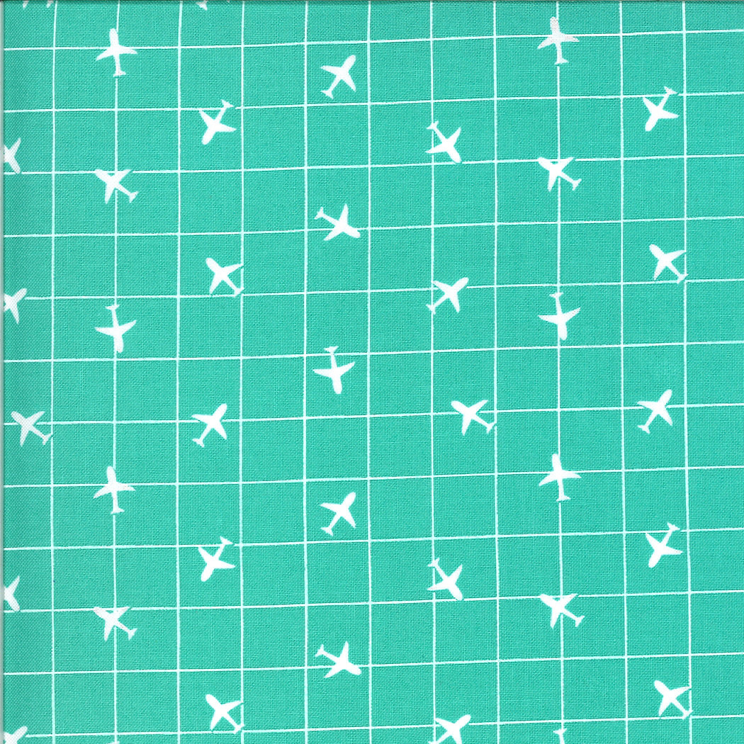 On The Go, Airplane Grid, Jet Stream Teal (20726 12) $0.20 per cm or $20/m