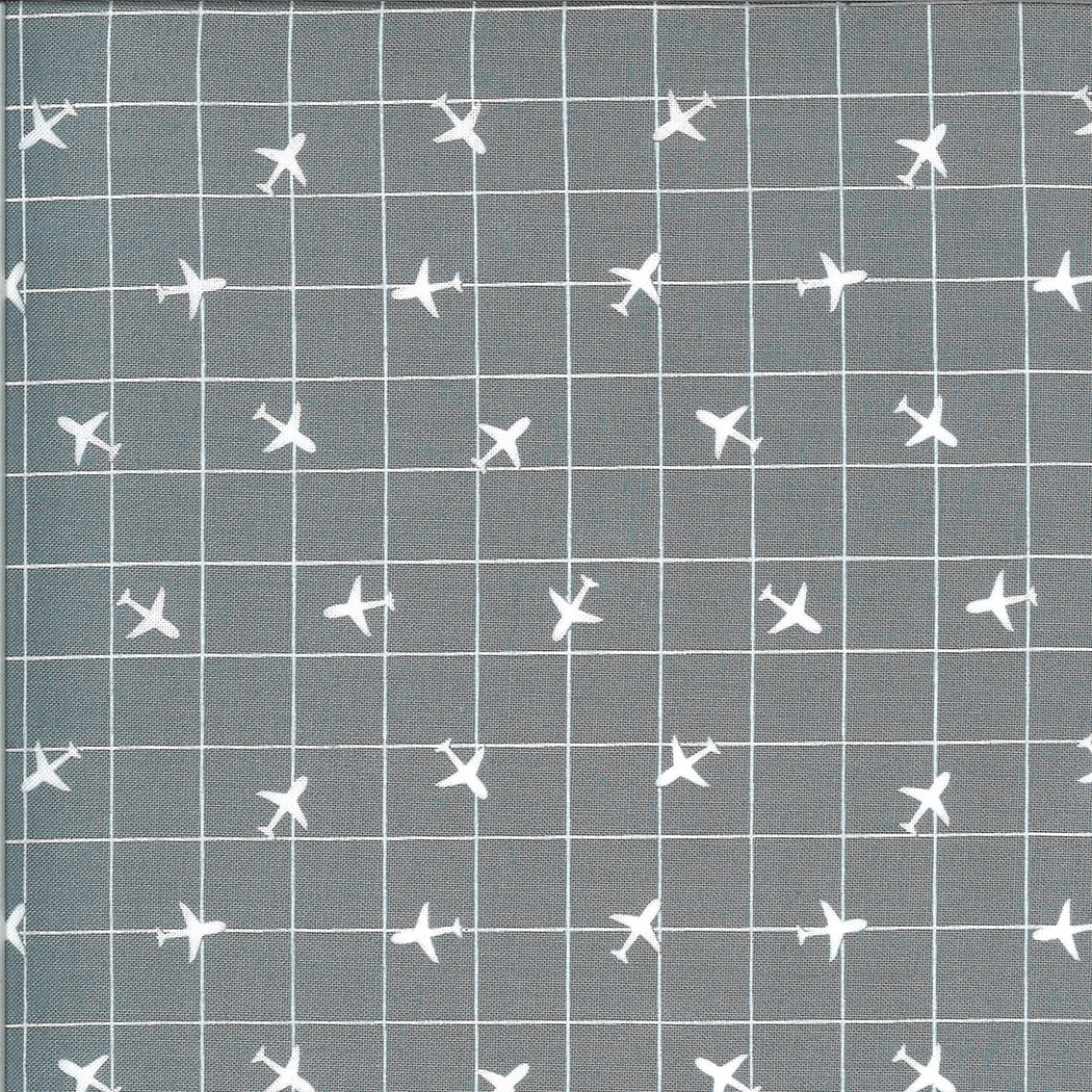 On The Go, Airplane Grid, Steel Grey (20726 19) $0.20 per cm or $20/m