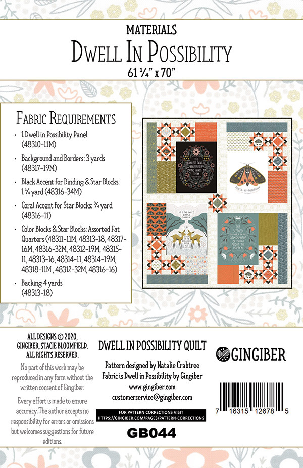 Gingiber Dwell In Possibility Quilt Pattern