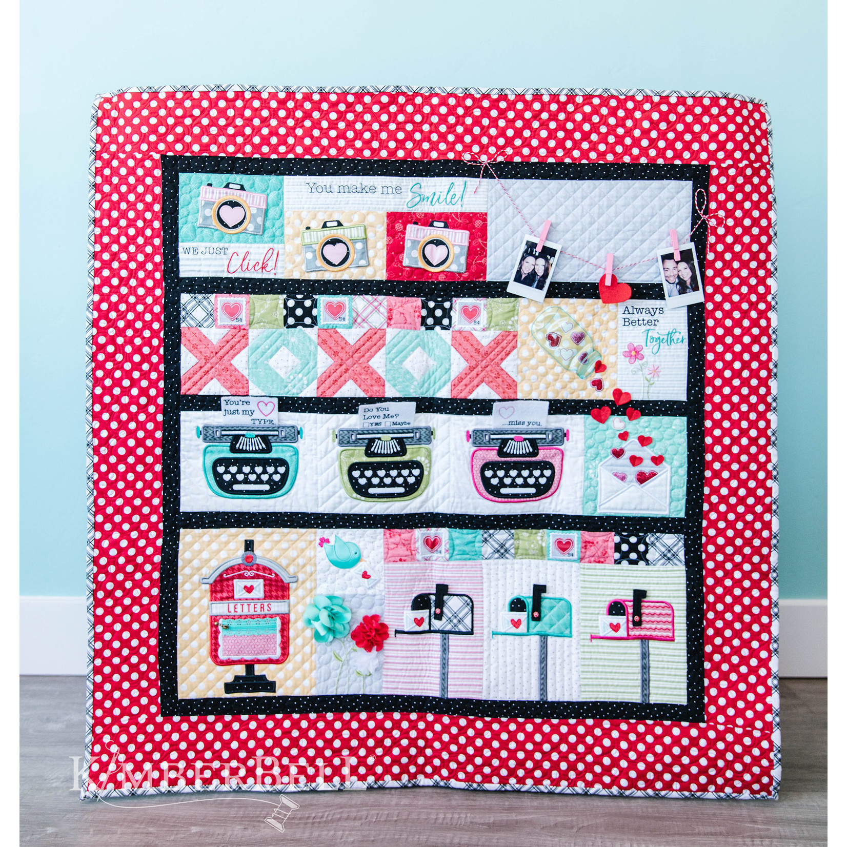KIMBERBELL DESIGNS Love Notes Quilt - Full Kit (Pattern, Fabric, Backing, and Thread