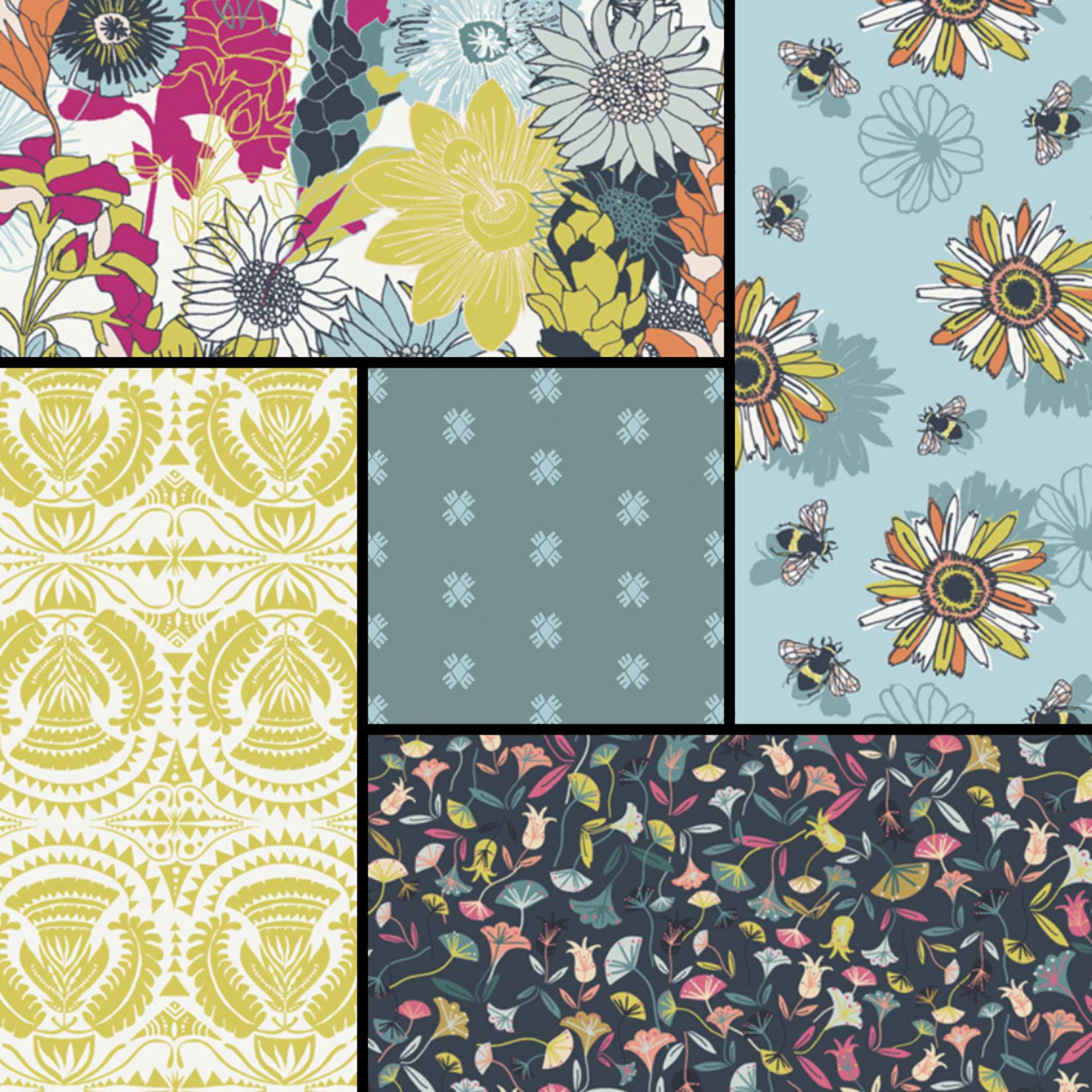 Art Gallery Pollinate - Flower Fields - Curated Fat 1/4 Bundle - 5 Pcs