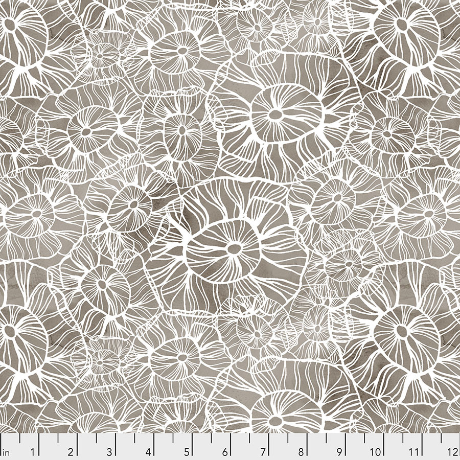 FREE SPIRIT Time and Tide, Sea Flower - Mocha - $0.16 per cm or $16/m