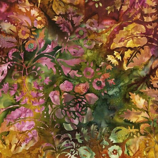 LAUNDRY BASKET QUILTS Splash of Color, Secret Garden, Eggplant 8594-N $0.20 per cm or $20/m
