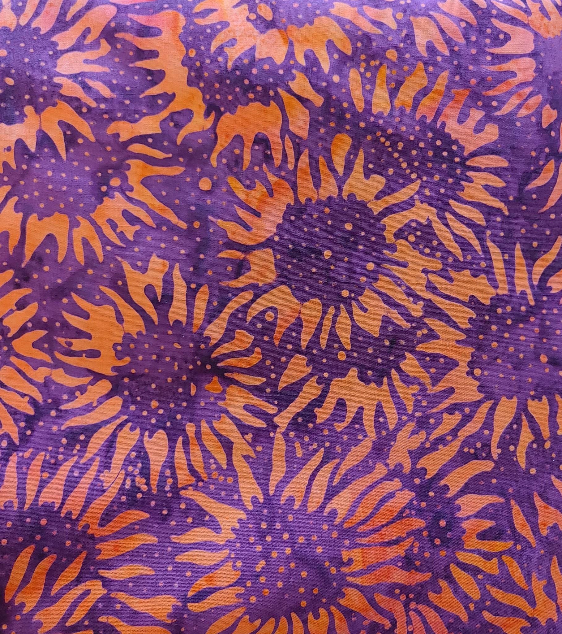 PRE-CUT FOR BACKING 620cm Orange Sunflowers on Purple $16/M BATIK