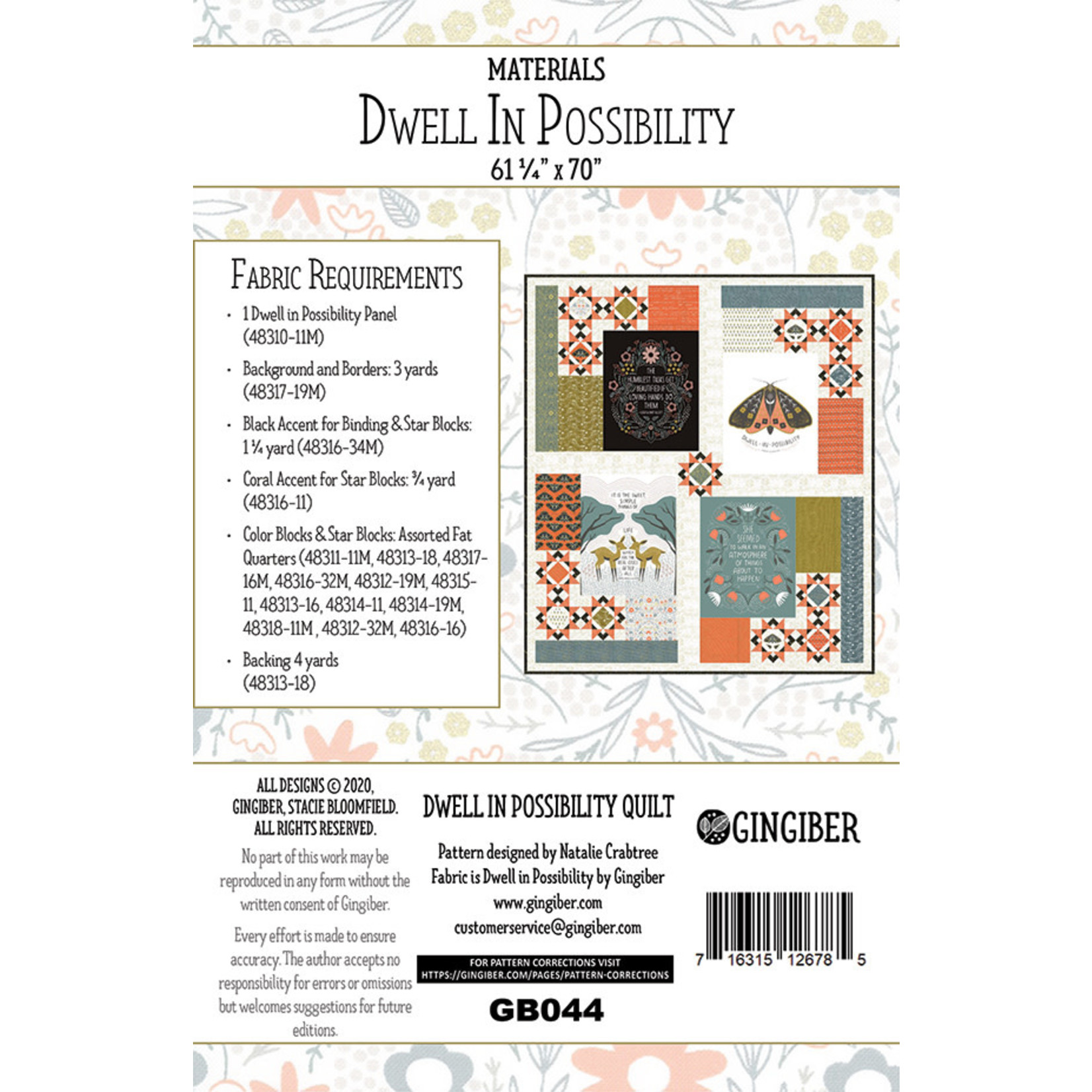 Gingiber Dwell In Possibility Quilt Kit