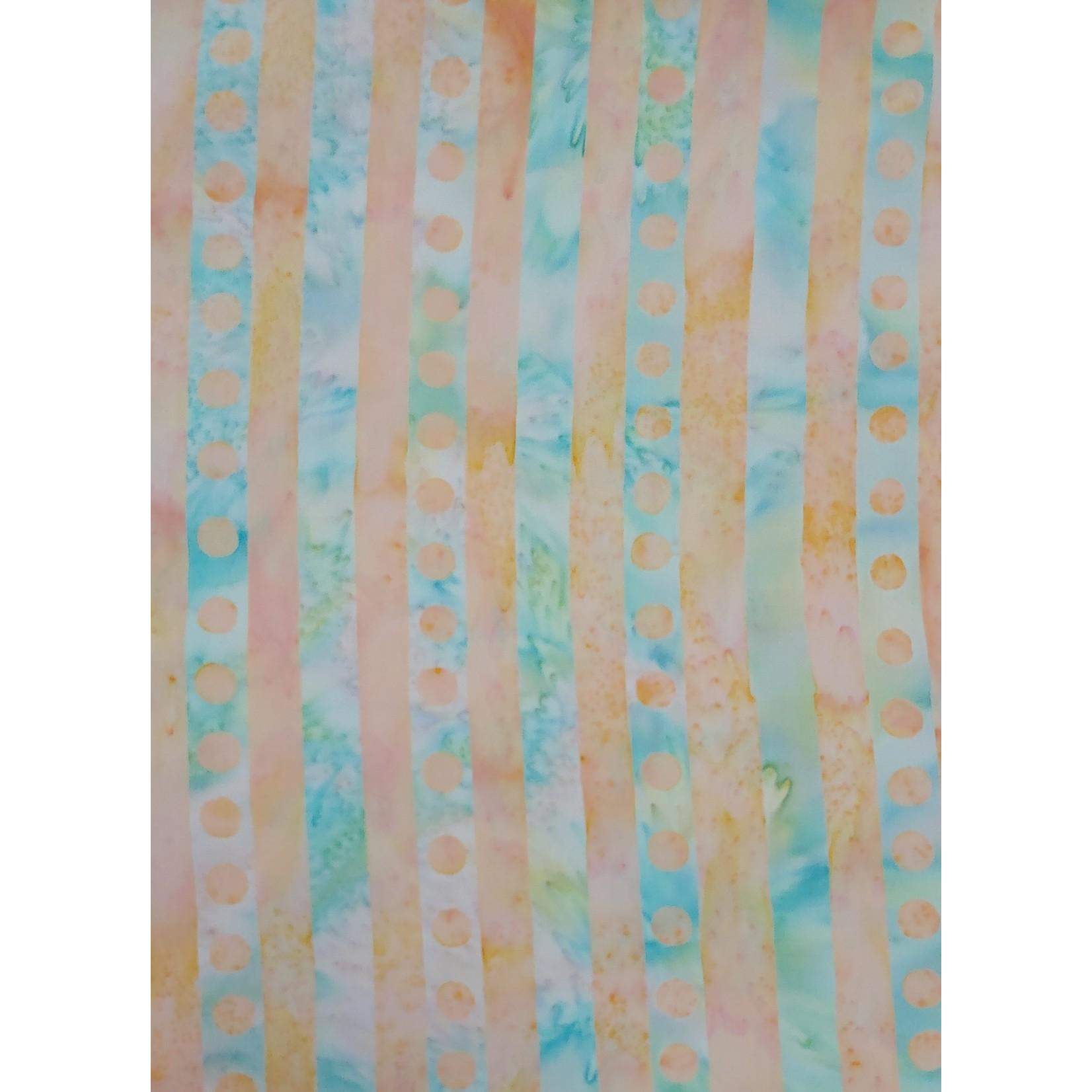 500cm Peach and Blue/Green Stripe BATIK