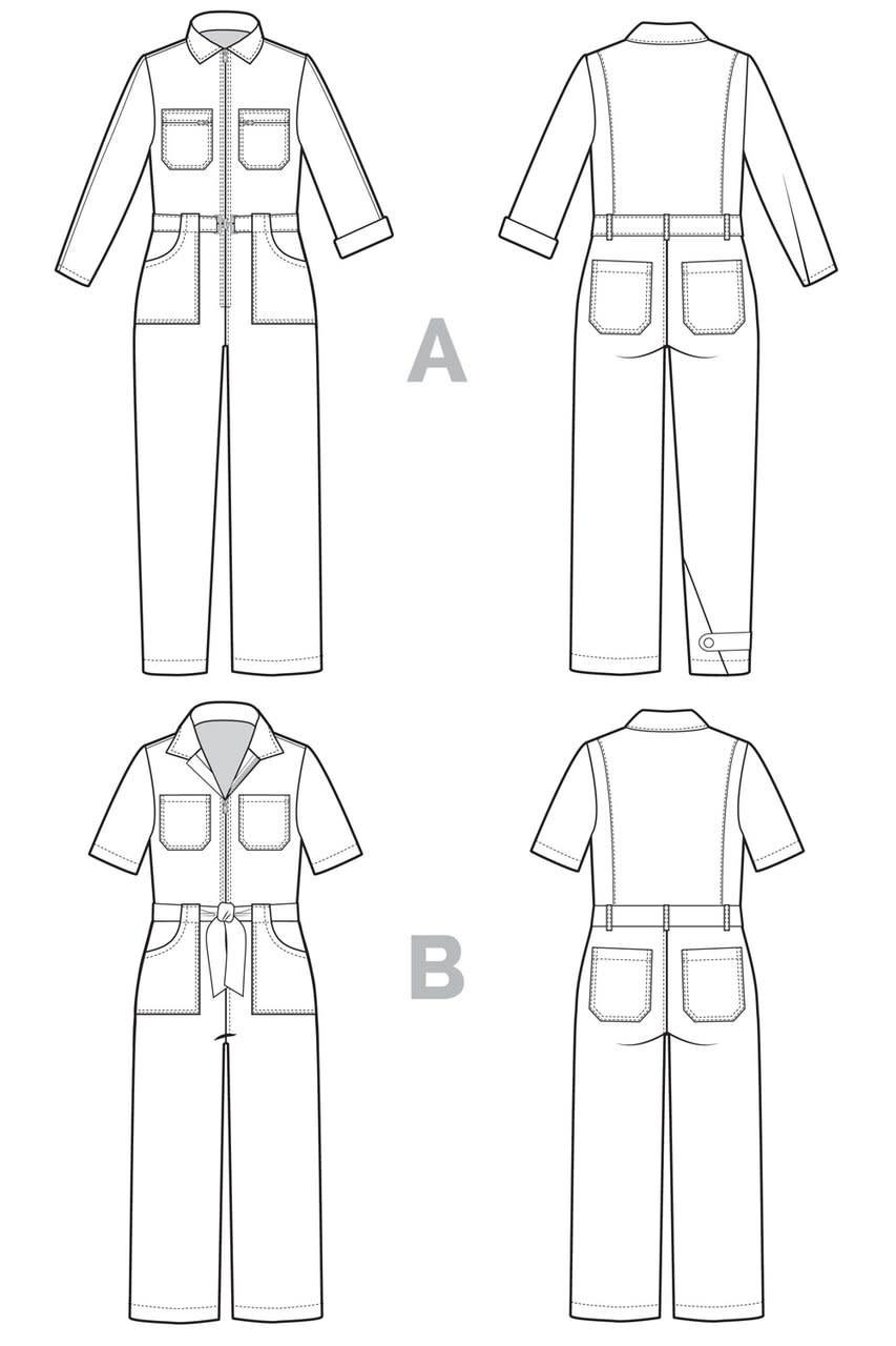 Closet Core Patterns Closet Core - Blanca Flight Suit Pattern 0-20