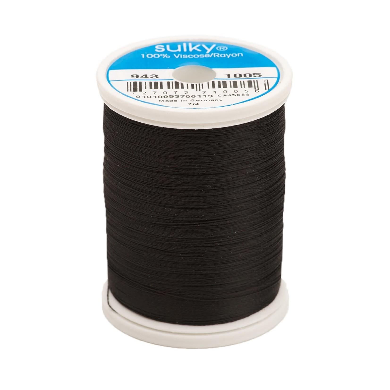 Sulky Rayon Thread 2-ply 40wt 268d 850yds Black