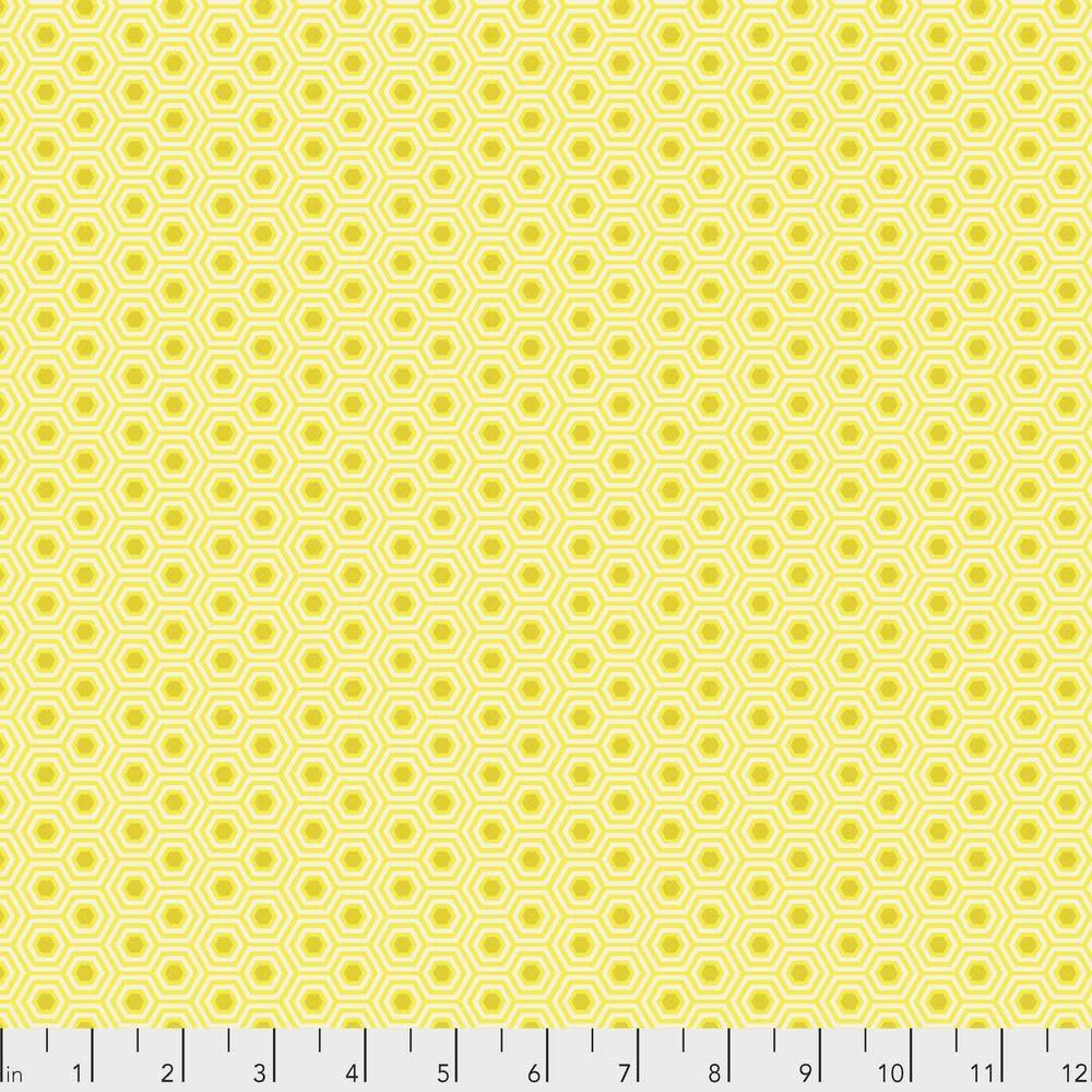 Tula Pink Tula Hexy, Sunshine  $0.17  per cm or $17/m
