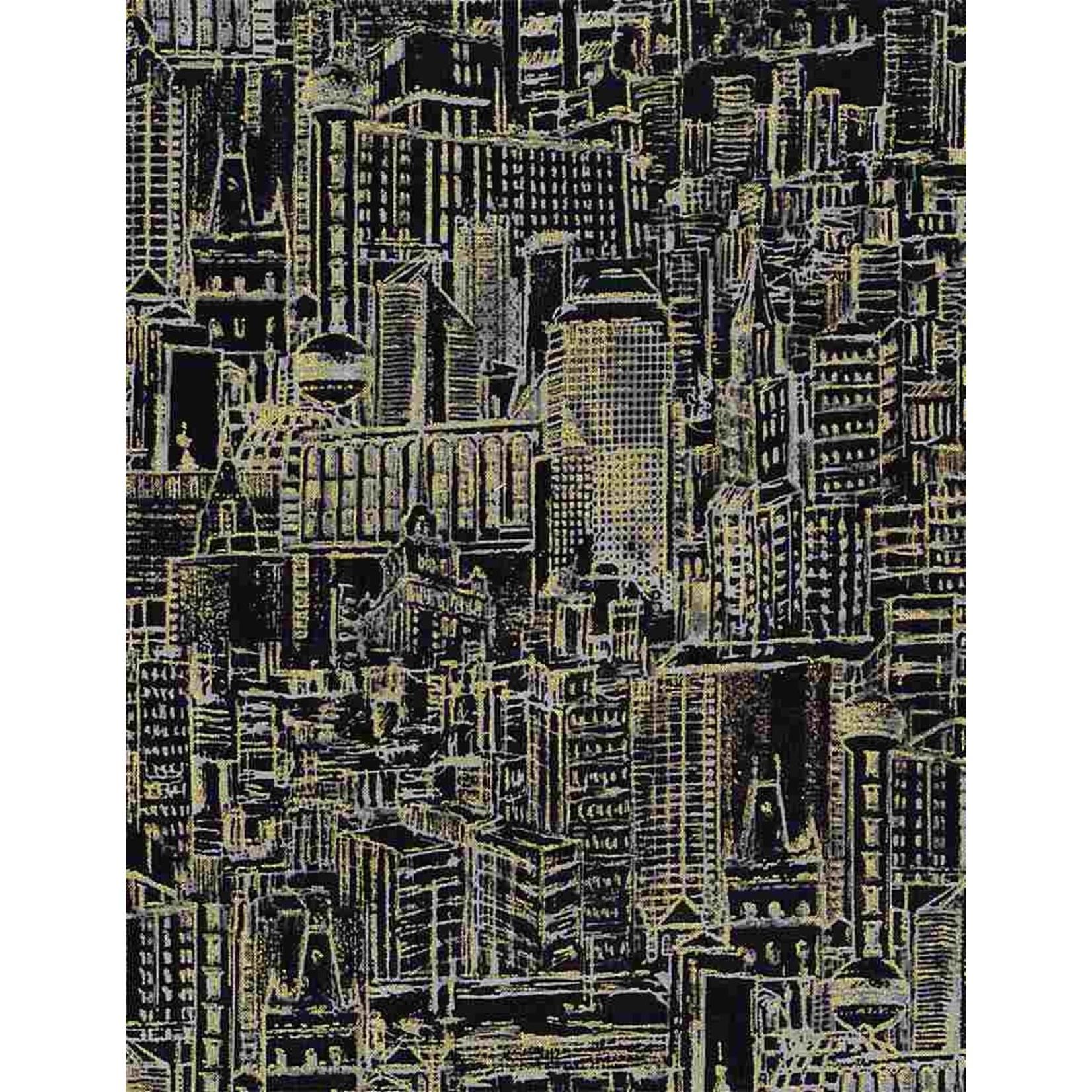 Timeless Treasures Gilded City, Urban Landscape Sketch, Black (8153-BLK) $0.20 per cm or $20/m