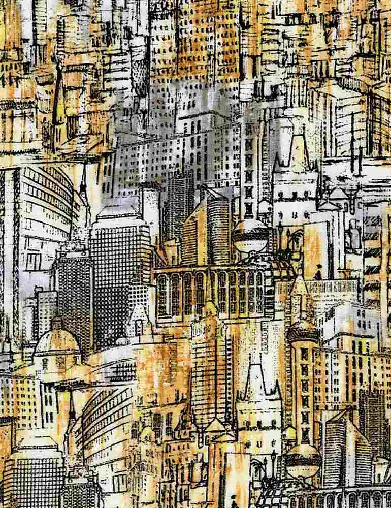 TIMELESS TREASURES Gilded City, Urban Landscape Sketch, Multi (8316-MUL) $0.20 per cm or $20/m