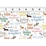 Clothworks Uptown, Dog Speak, White Beige Bones Y3144-1 $0.20 per cm or $20/m