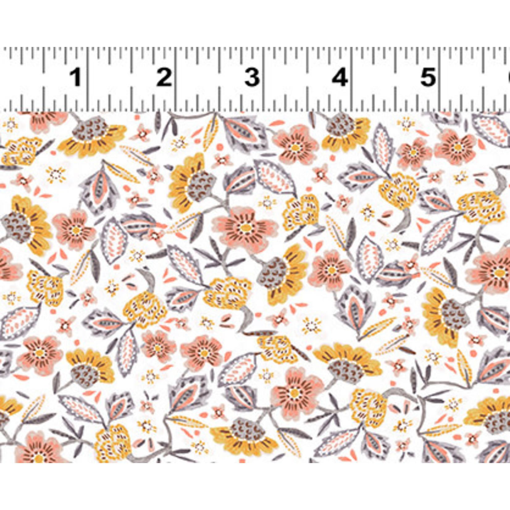 Clothworks Uptown, Floral, White Y3141-1 $0.20 per cm or $20/m