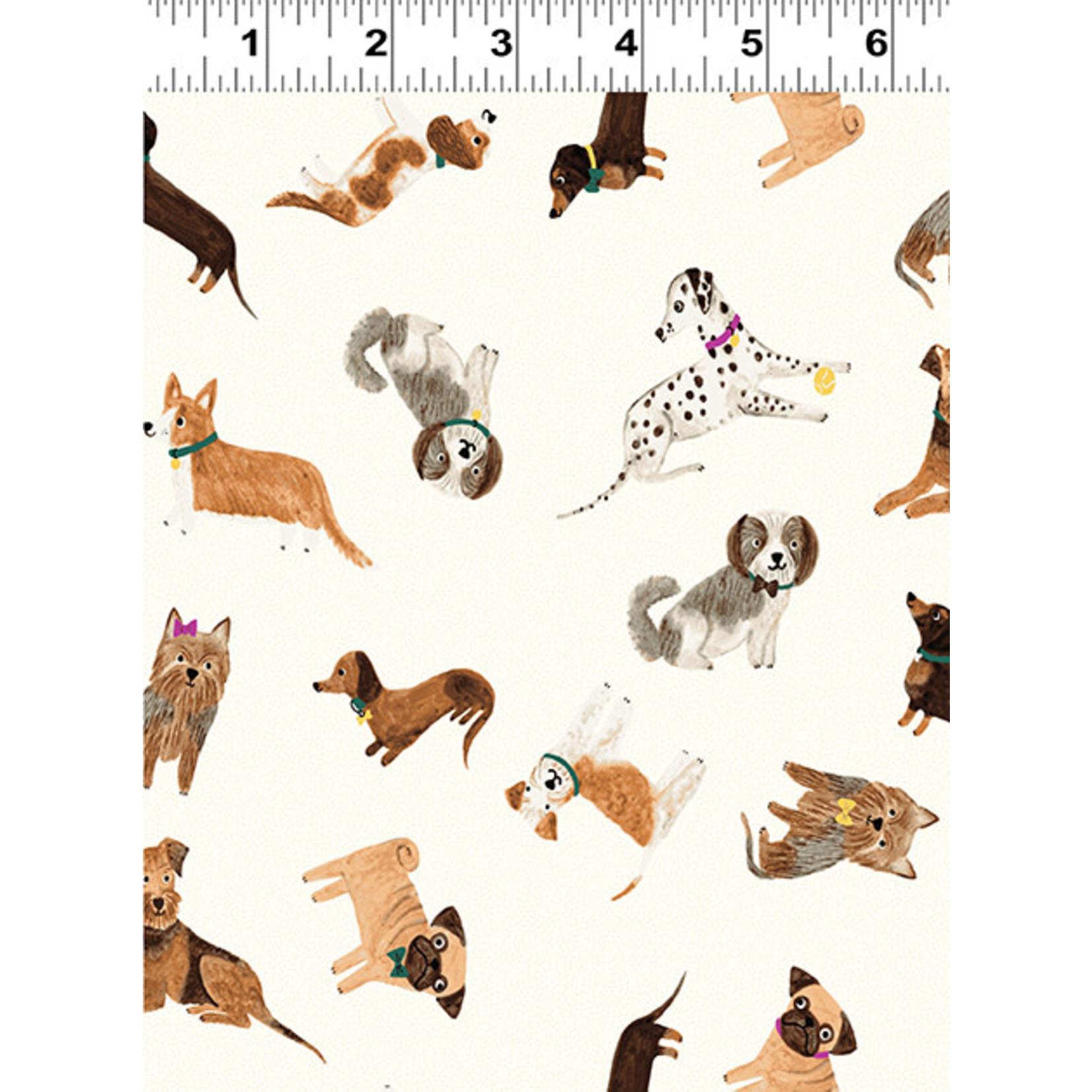 Clothworks Uptown, Tossed Dogs, Light Cream Y3143-2 $0.20 per cm or $20/m