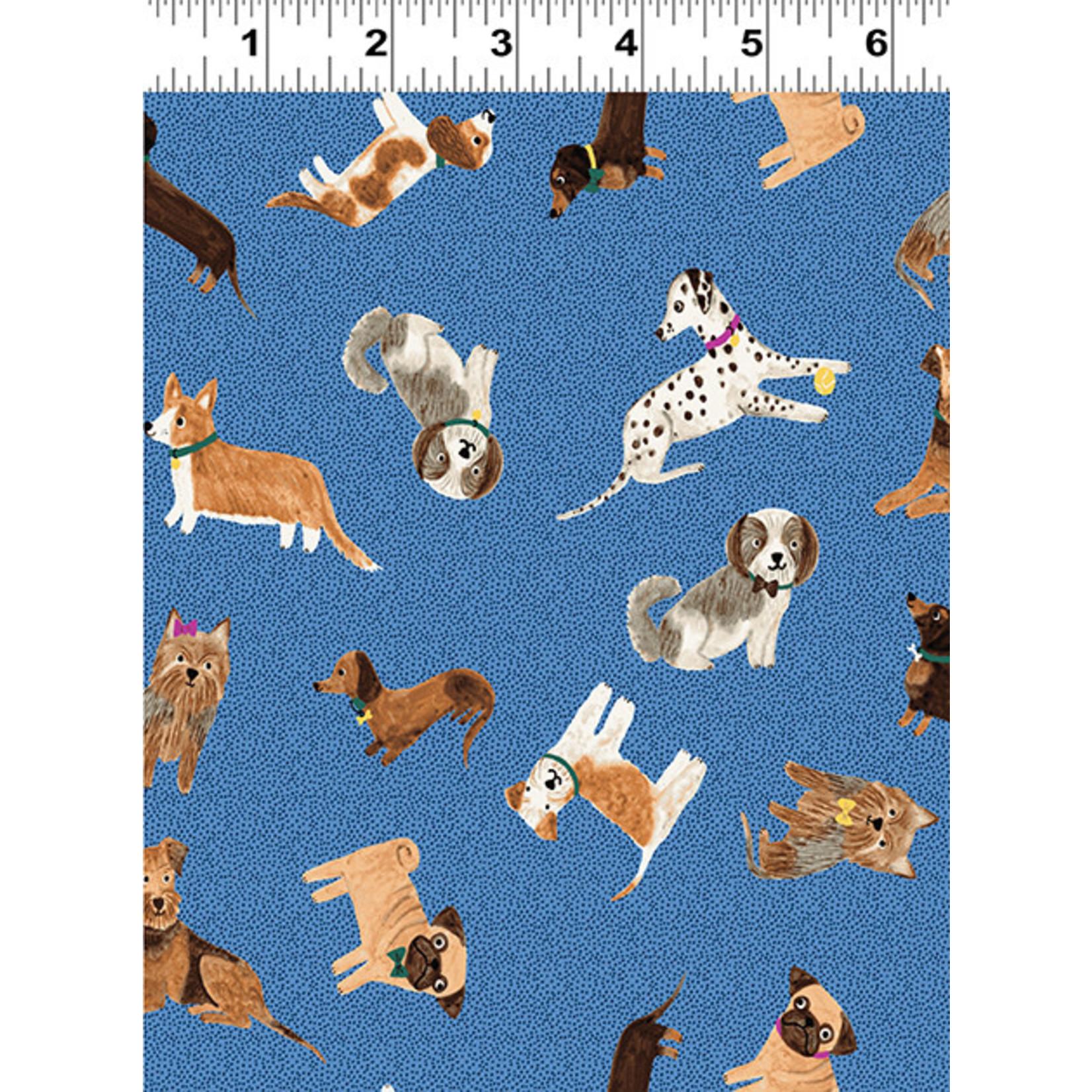 Clothworks Uptown, Tossed Dogs, Denim Y3143-88 $0.20 per cm or $20/m