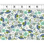 Clothworks Uptown, Floral, Light Cream Y3145-2 $0.20 per cm or $20/m