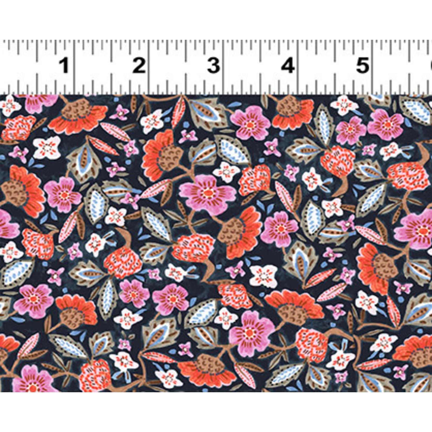 Clothworks Uptown, Floral, Light Navy Y3145-93 $0.20 per cm or $20/m