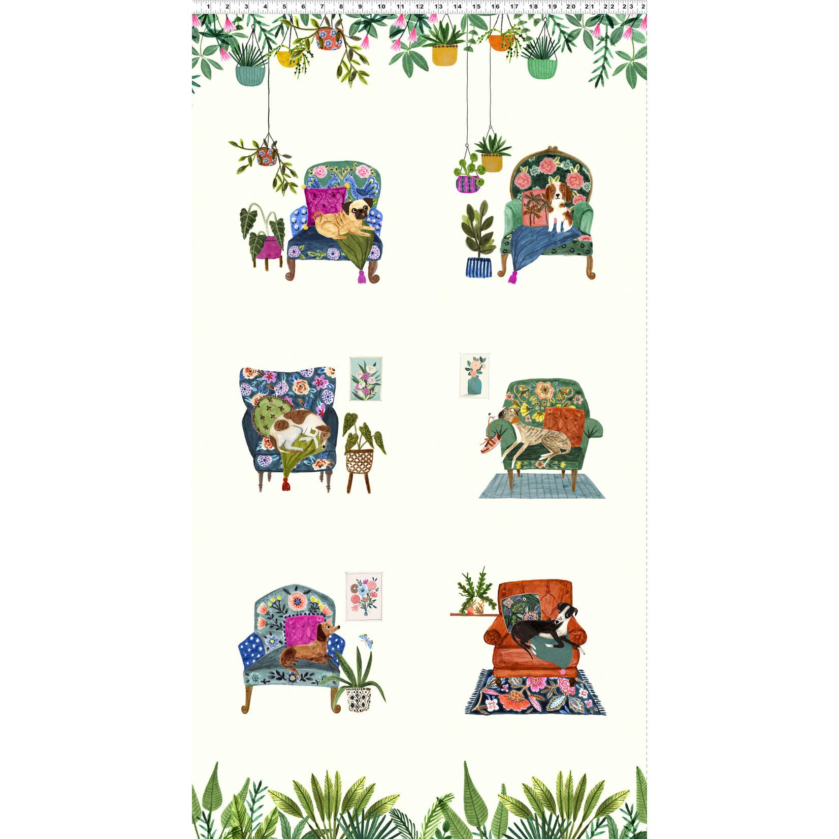 Clothworks Uptown, Panel, Cream Y3142-2