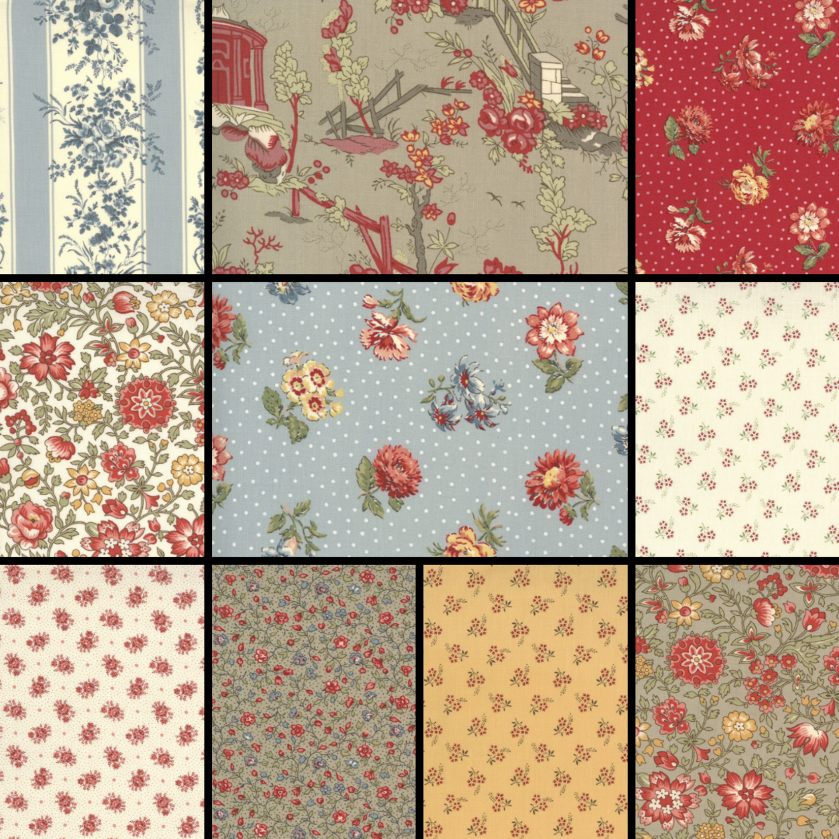FRENCH GENERAL Jardins De Fleurs - 1/2 Meter Bundle Prints - 32 Pcs
